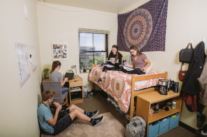 Students studying in a resident's room.