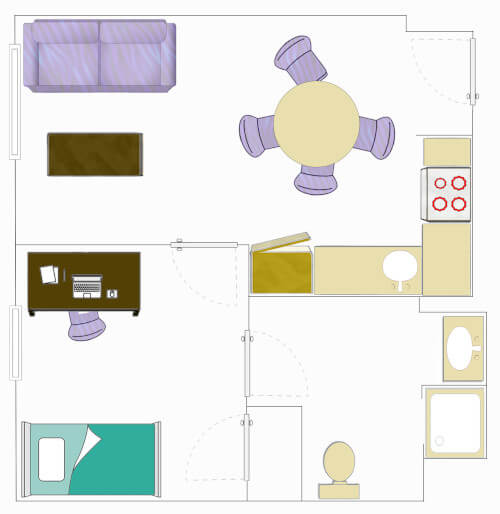 Floorplan for a Sing-Bedroom Apartment