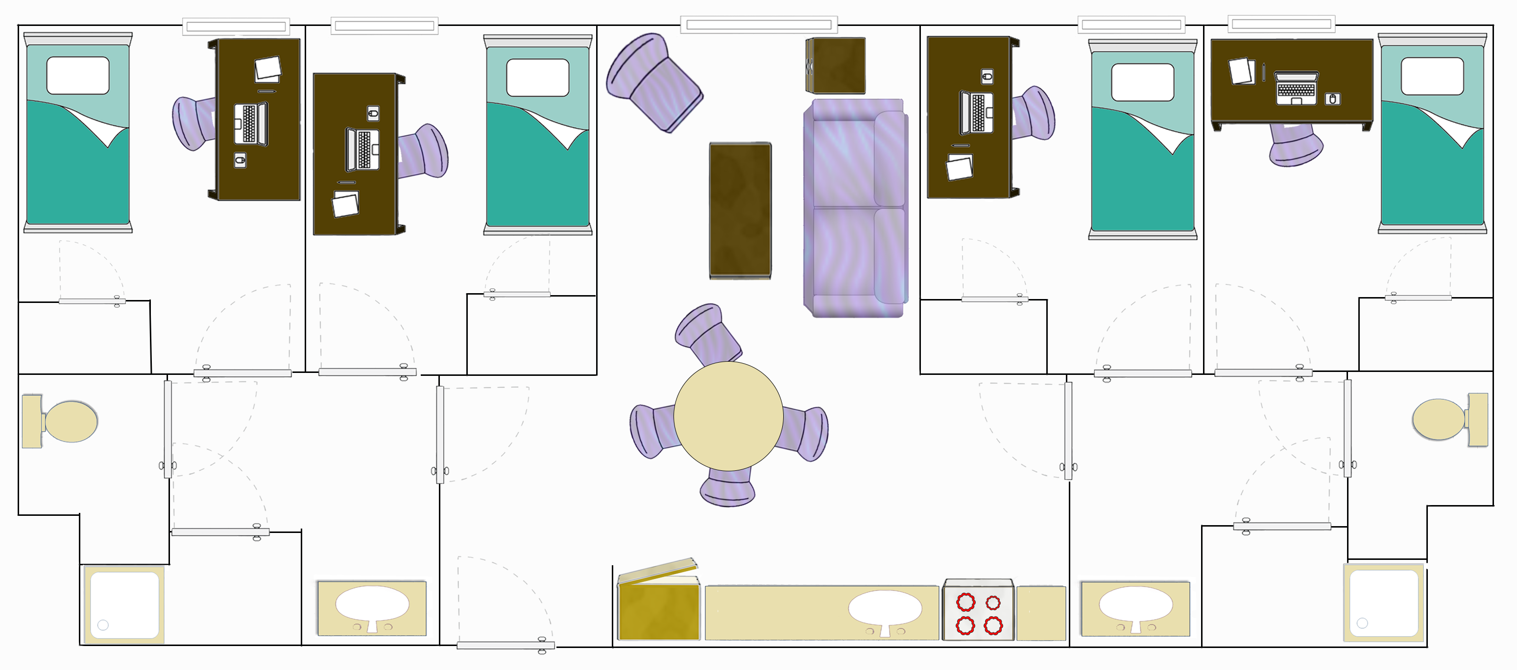 Floorplan for a Four Bedroom Apartment