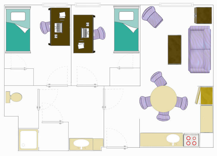 Floorplan for a Two-Bedroom Apartment